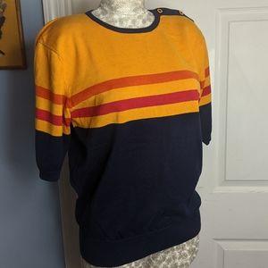 VINTAGE striped mustard crewneck sweater
